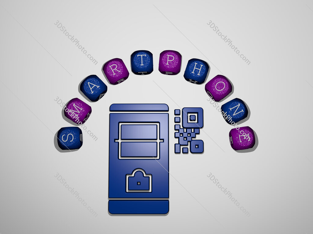 smartphone icon surrounded by the text of individual letters