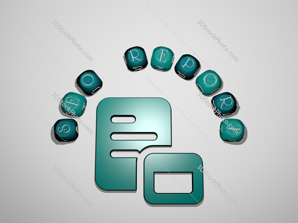 seo report icon surrounded by the text of individual letters