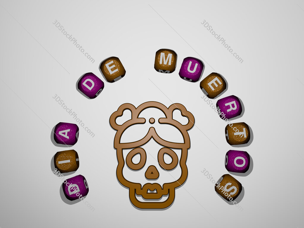 dia-de-muertos icon surrounded by the text of individual letters