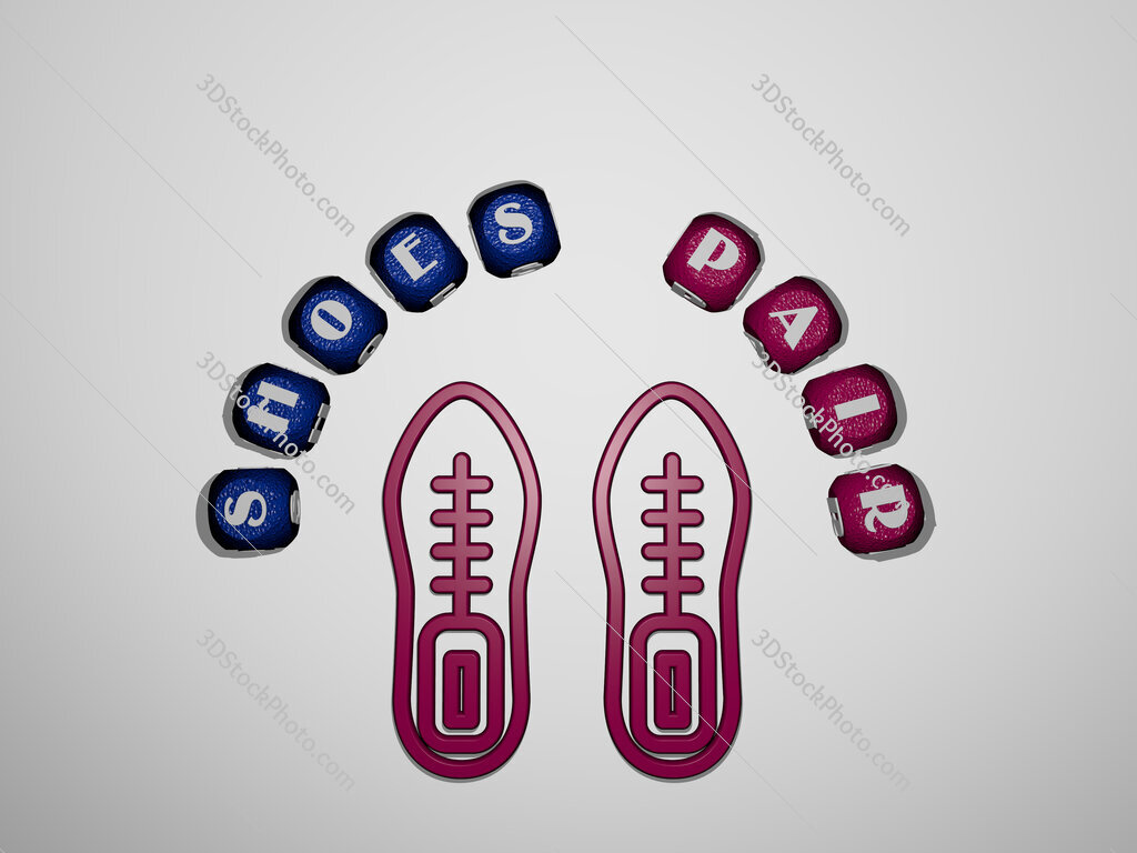 shoes pair icon surrounded by the text of individual letters