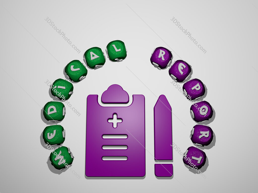medical report icon surrounded by the text of individual letters