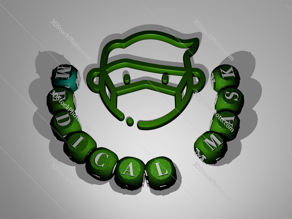 medical mask text around the 3D icon