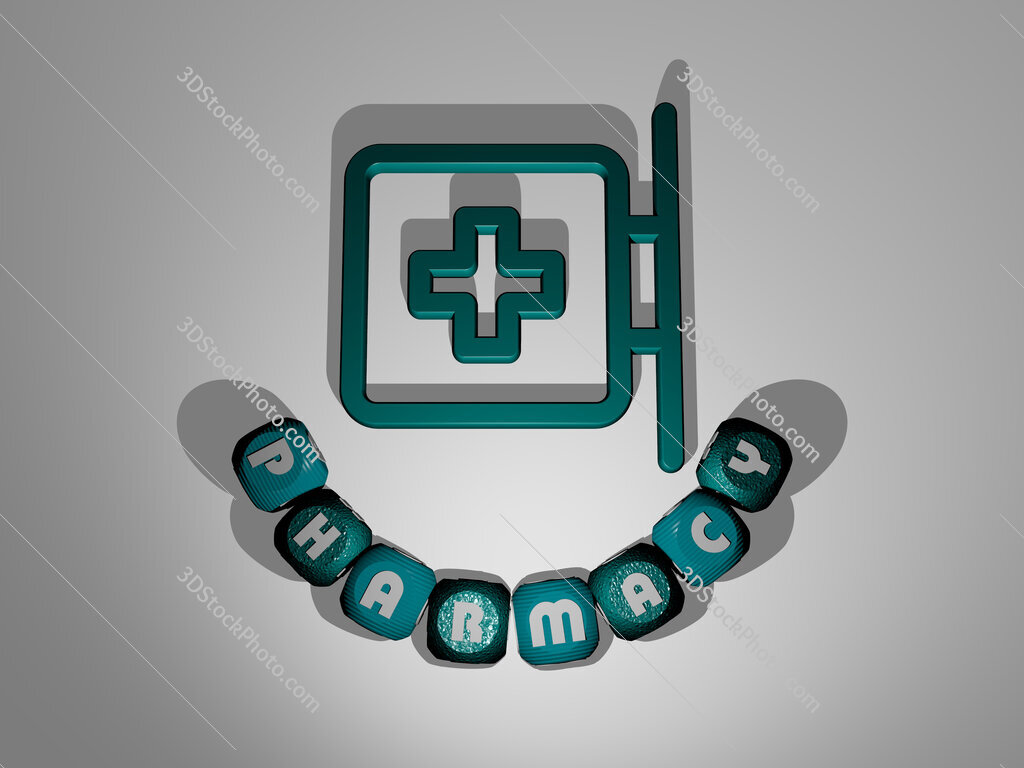 pharmacy text around the 3D icon