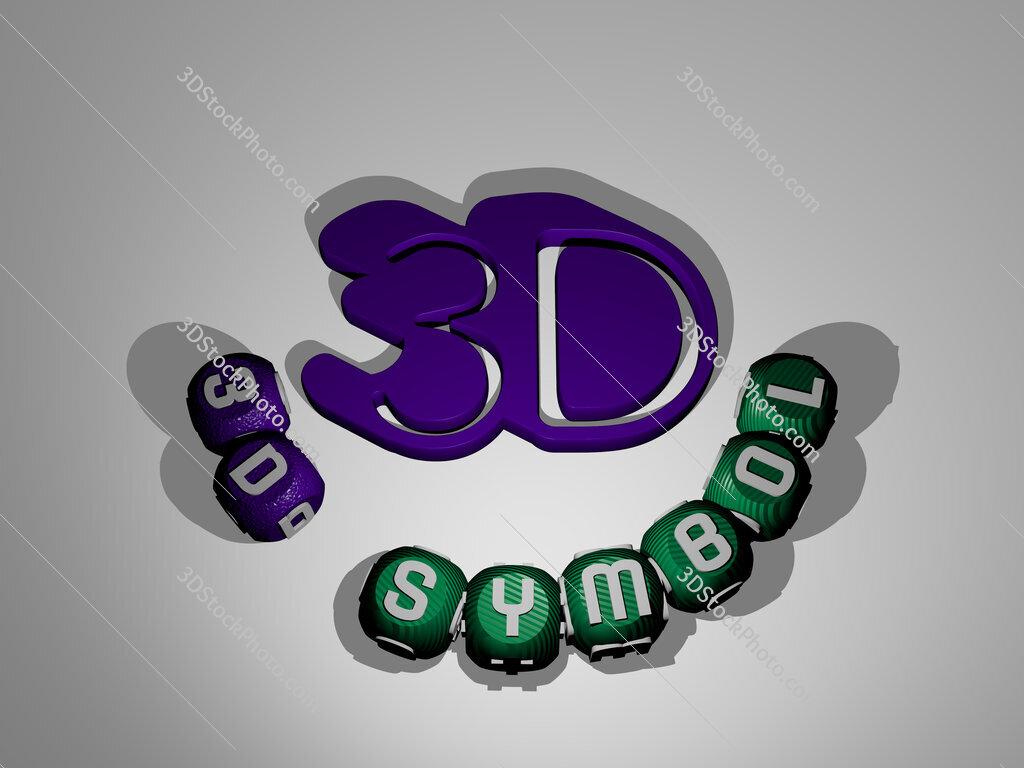 3d-symbol text around the 3D icon