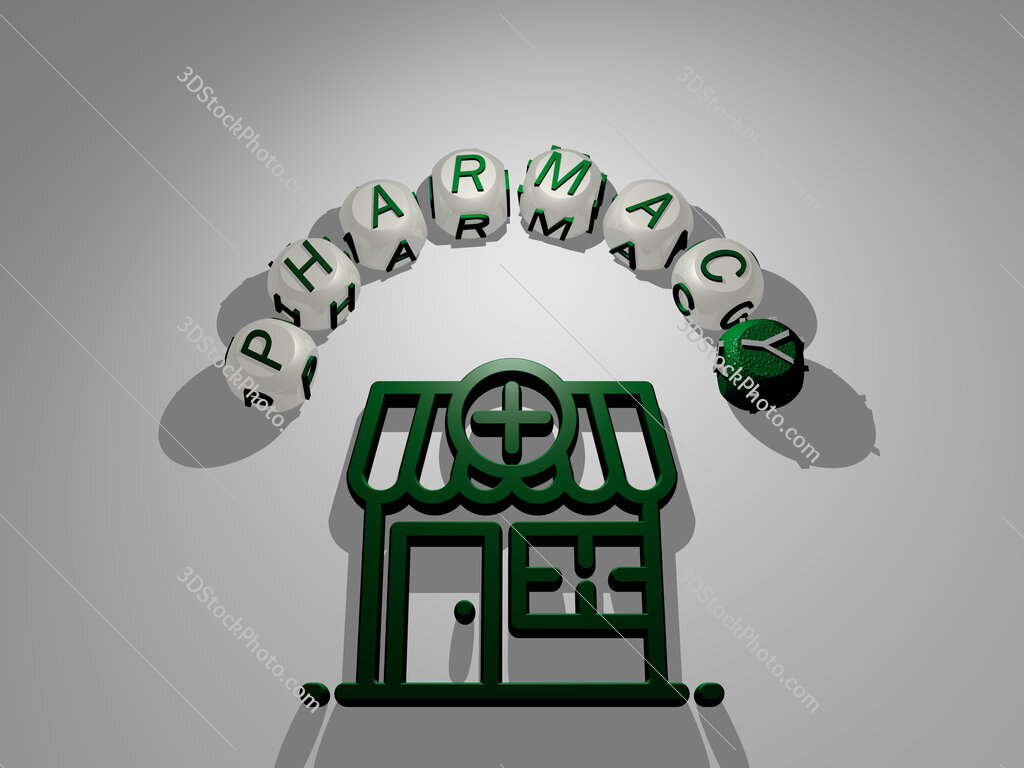 pharmacy circular text of separate letters around the 3D icon