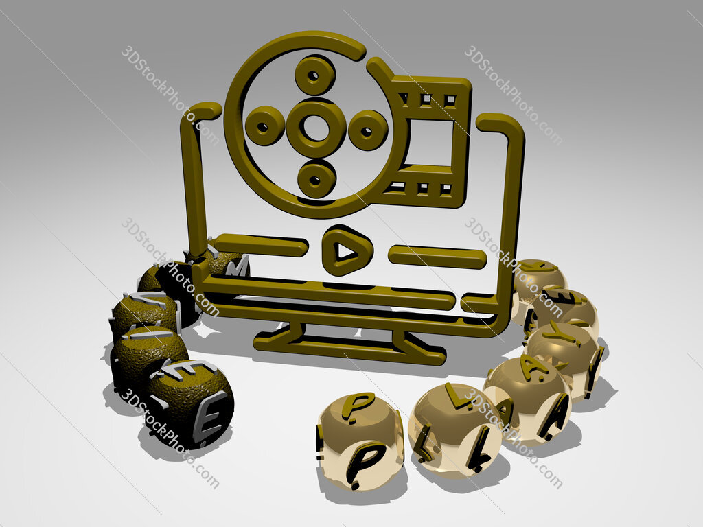 movie player round text of cubic letters around 3D icon