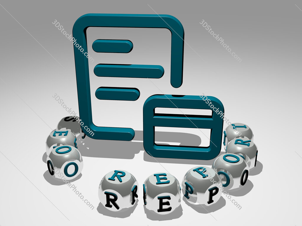 seo report round text of cubic letters around 3D icon