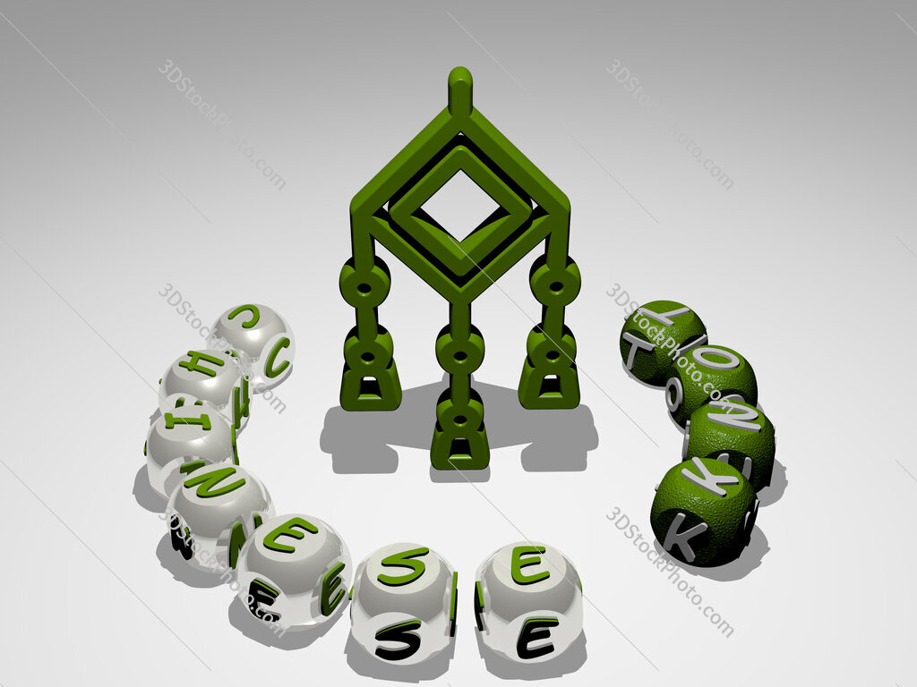 chinese knot round text of cubic letters around 3D icon