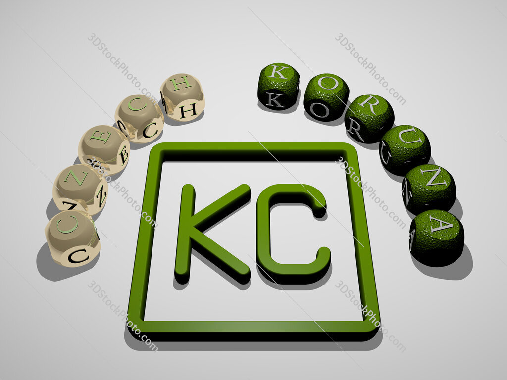 czech-koruna 3D icon surrounded by the text of cubic letters