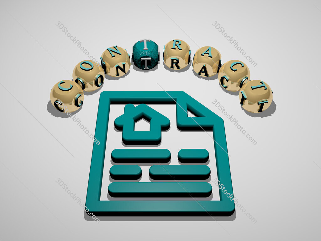 contract 3D icon surrounded by the text of cubic letters