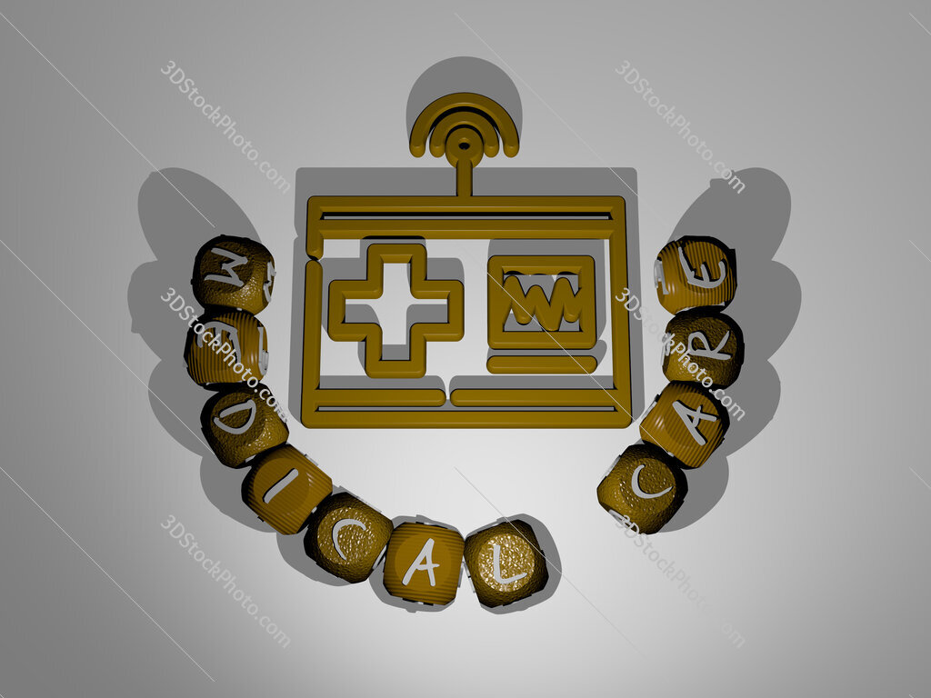 medical care text around the 3D icon