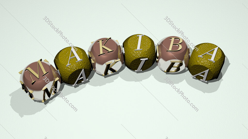 Makiba text of dice letters with curvature