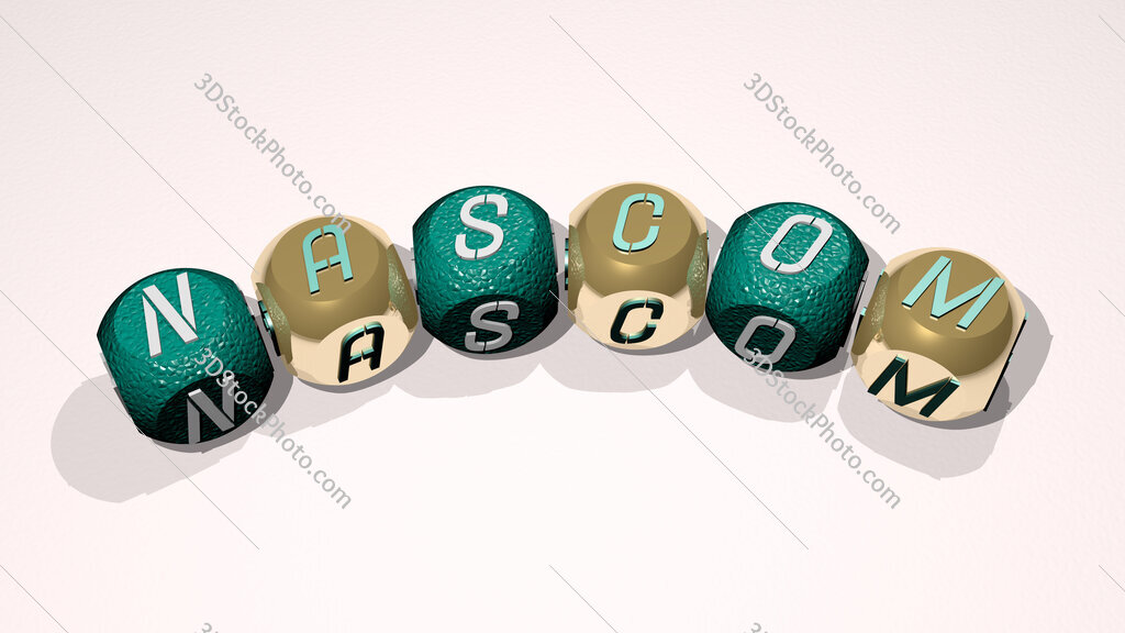 Nascom text of dice letters with curvature