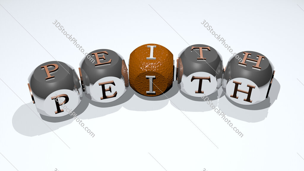 peith text of dice letters with curvature