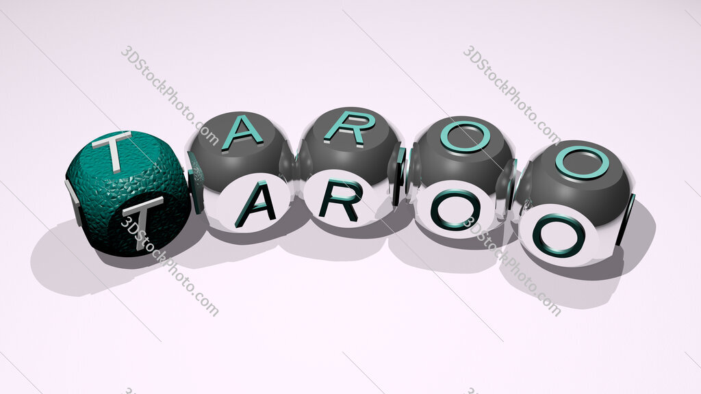 Taroo text of dice letters with curvature