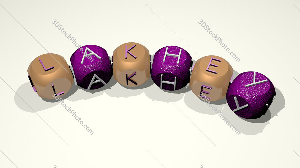 Lakhey text of dice letters with curvature