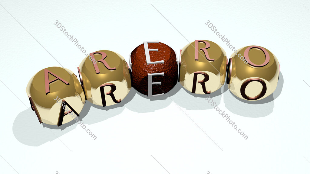 Arero text of dice letters with curvature
