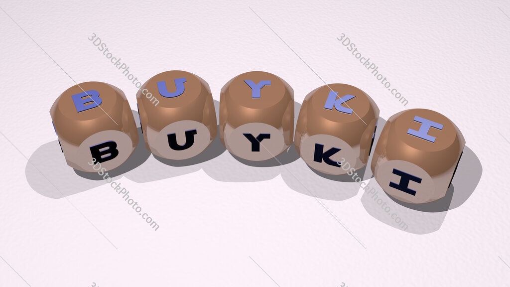 Buyki text of dice letters with curvature