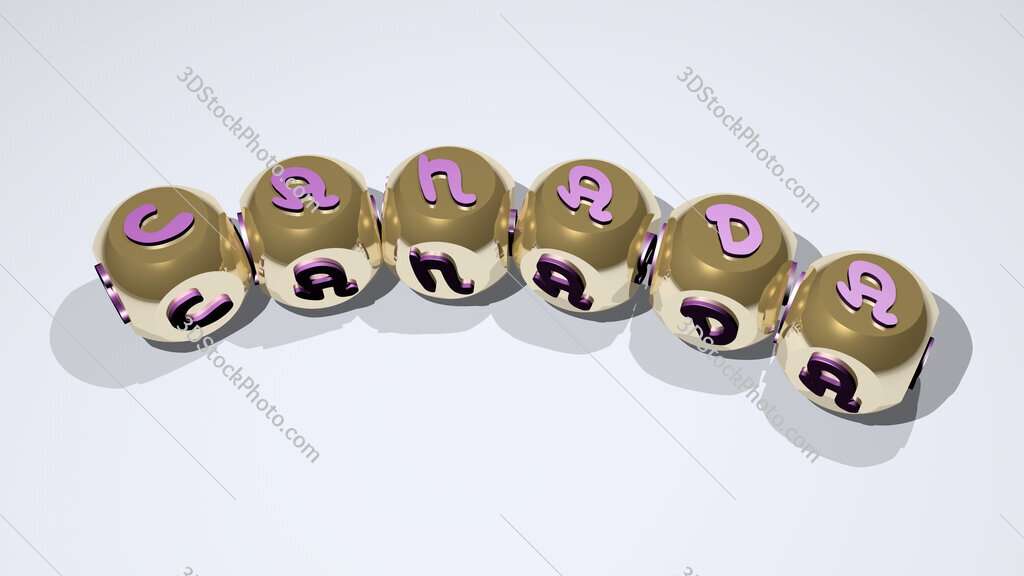 canada text of dice letters with curvature