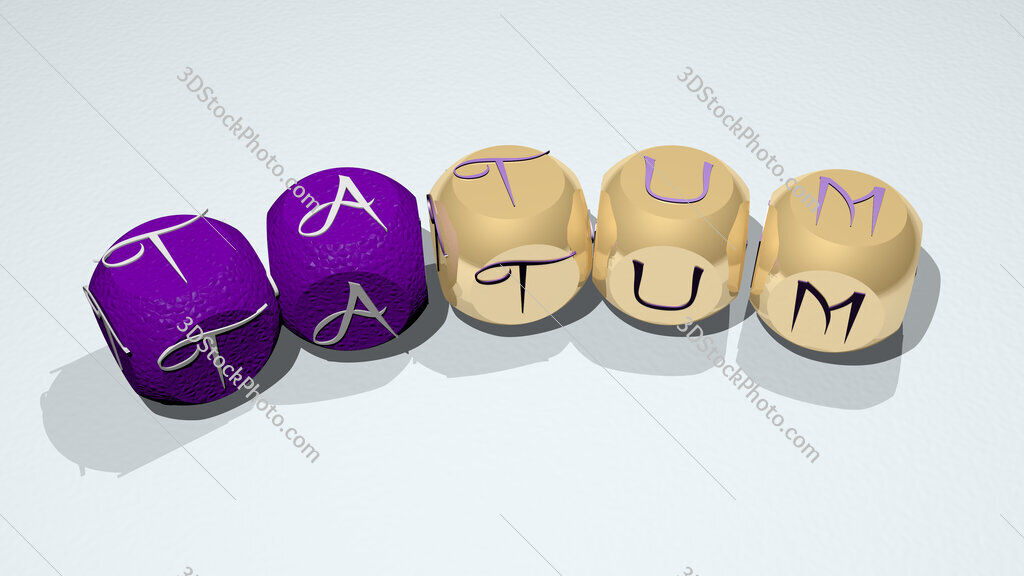 Tatum text of dice letters with curvature