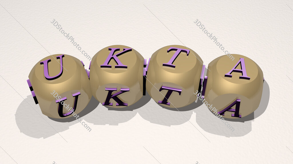 Ukta text of dice letters with curvature