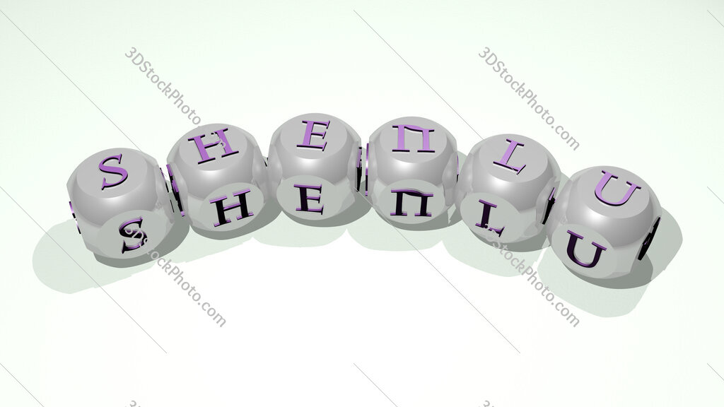 Shenlu text of dice letters with curvature