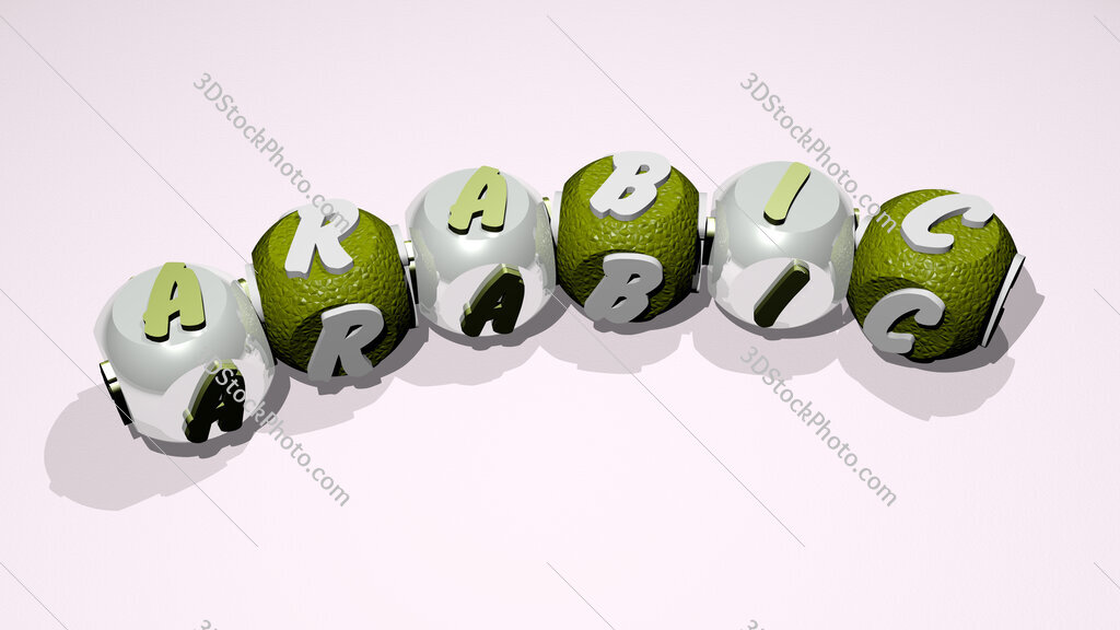 arabic text of dice letters with curvature