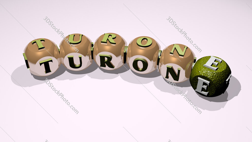 Turone text of dice letters with curvature