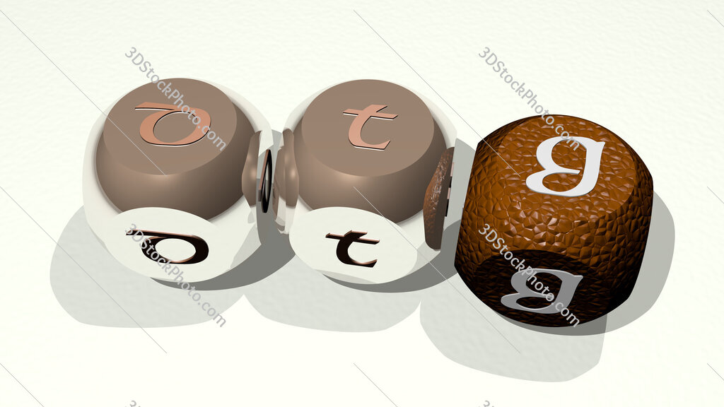 DTG text of dice letters with curvature