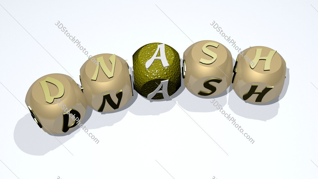 Dnash text of dice letters with curvature