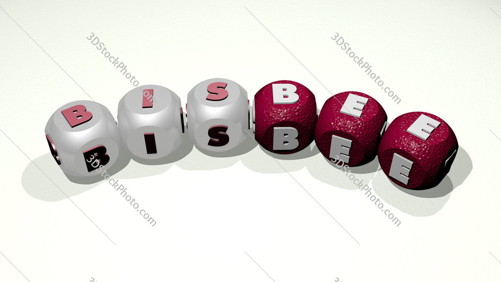 Bisbee text of dice letters with curvature