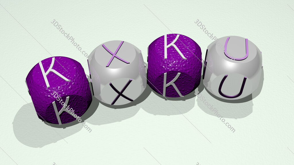 KXKU text of dice letters with curvature