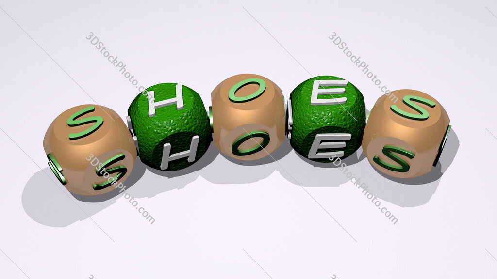 shoes text of dice letters with curvature