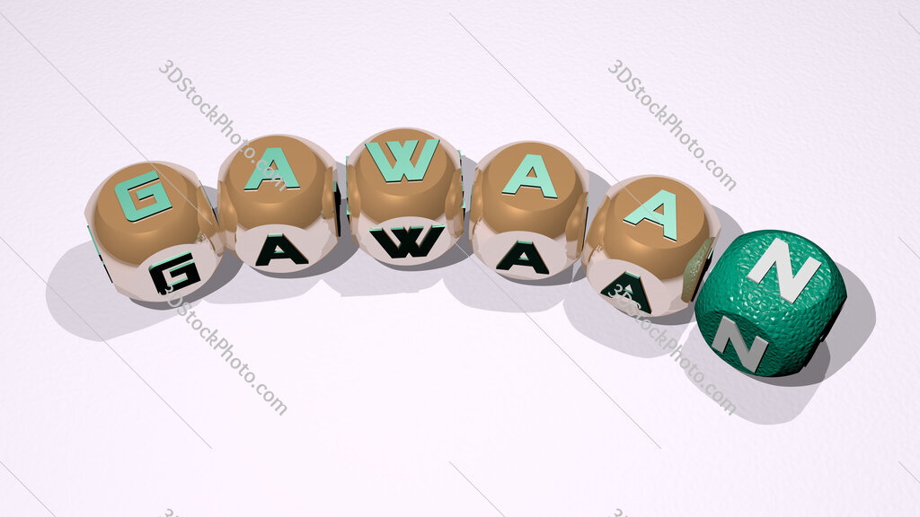 Gawaan text of dice letters with curvature