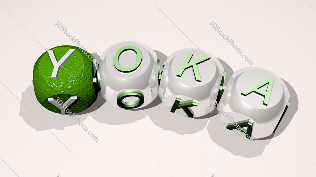 Yoka text of dice letters with curvature