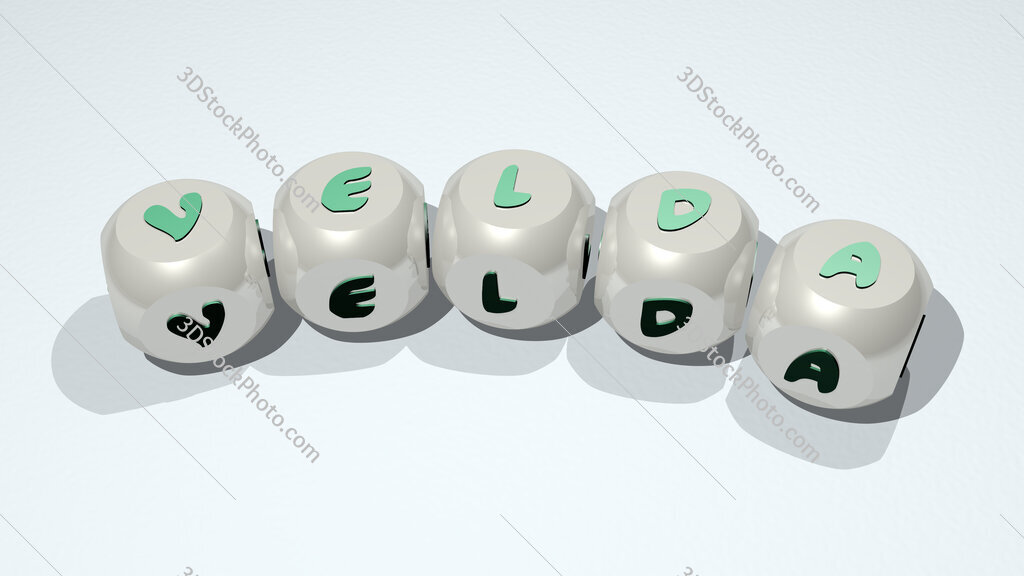 Velda text of dice letters with curvature