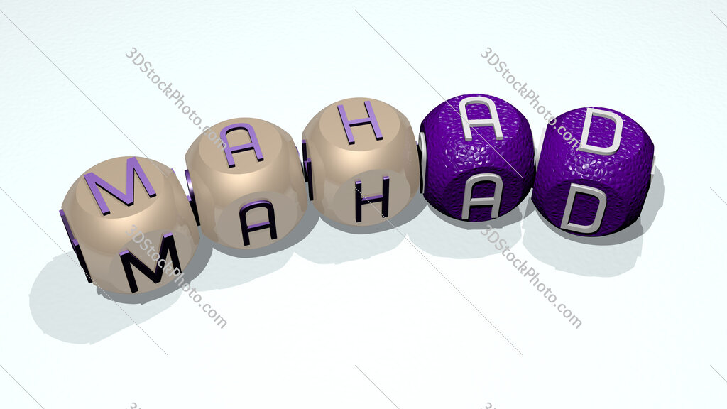 Mahad text of dice letters with curvature