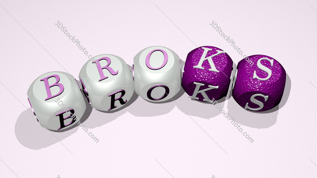 Broks text of dice letters with curvature