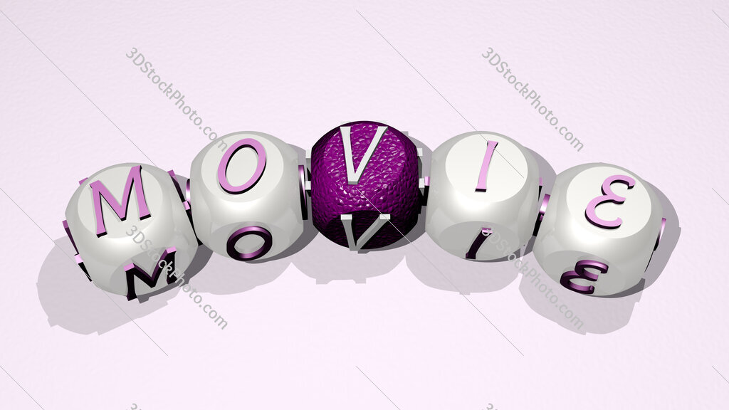 movie text of dice letters with curvature