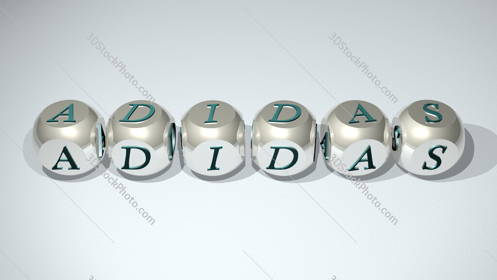 Adidas text of cubic individual letters