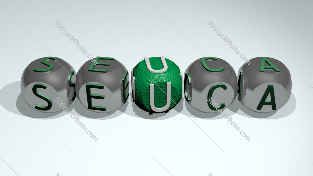 Seuca text of cubic individual letters