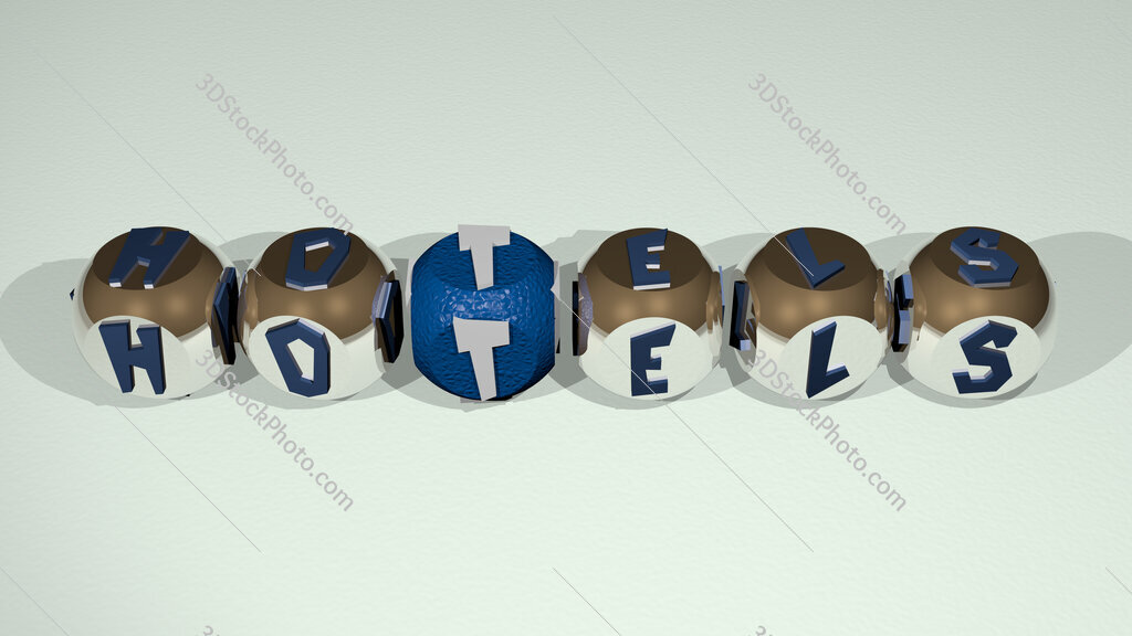 hotels text of cubic individual letters