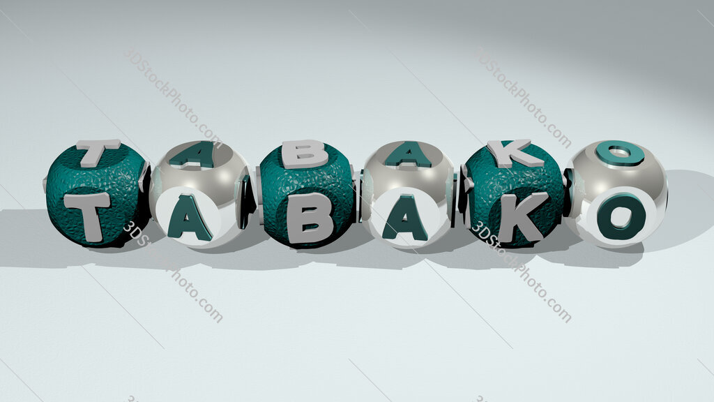 Tabako text of cubic individual letters