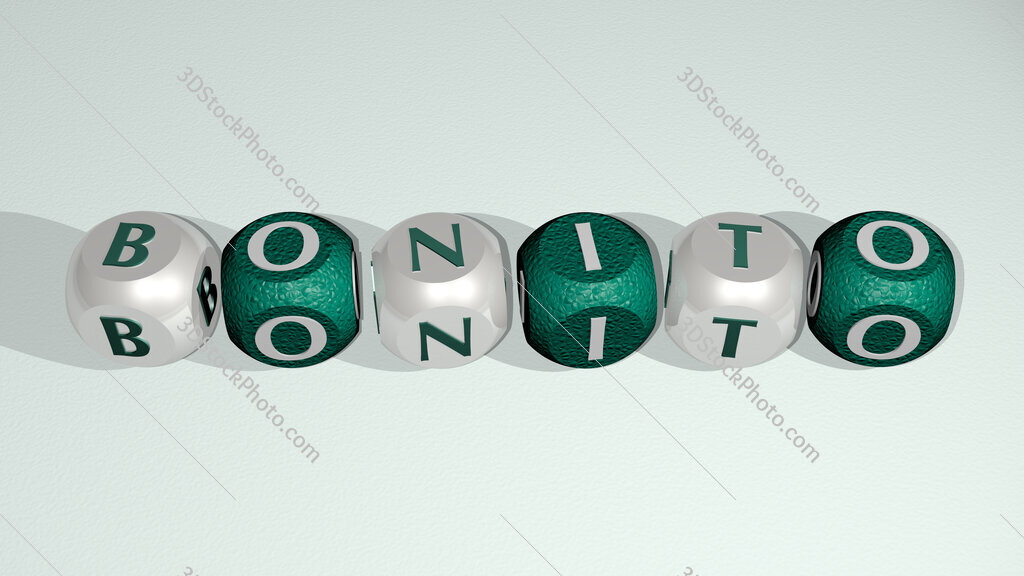 bonito text of cubic individual letters