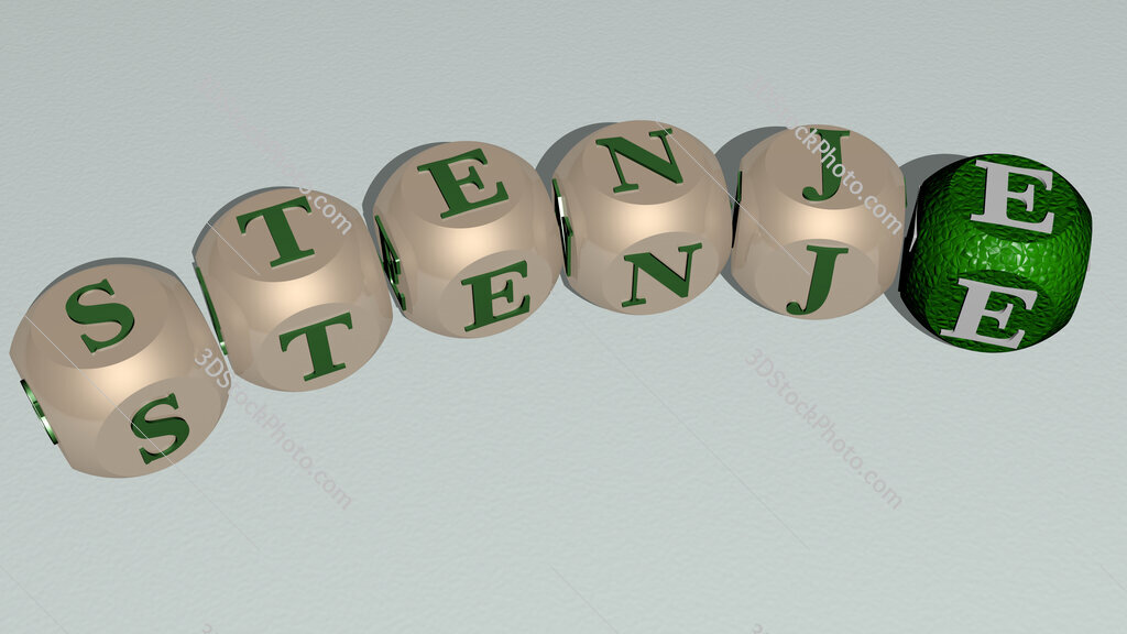 Stenje curved text of cubic dice letters