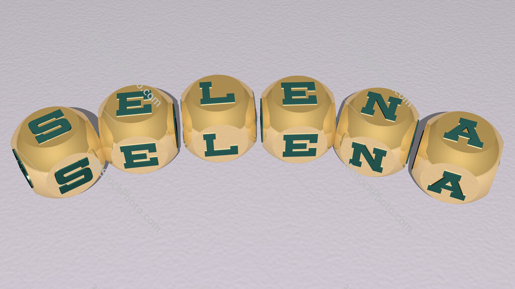 Selena curved text of cubic dice letters