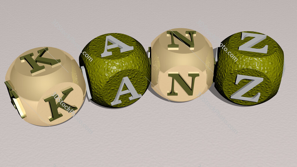 KANZ curved text of cubic dice letters