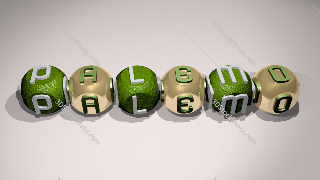Palemo text of cubic individual letters