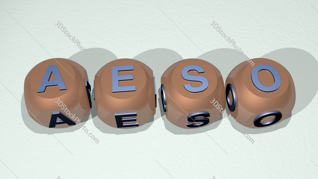 Aeso text of cubic individual letters