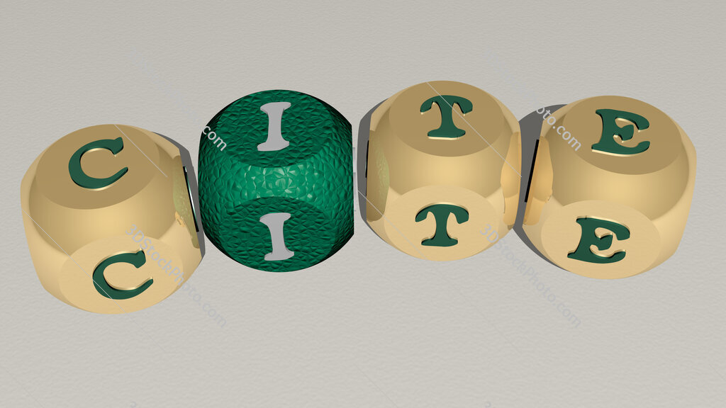 CITE curved text of cubic dice letters